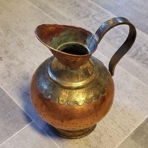 Vtg Hammered Copper/Brass Maudoux Dinant Pitcher